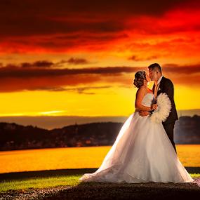 sunset by Dejan Nikolic Fotograf Krusevac - Wedding Bride & Groom ( vencanje, red sky, sunset, wedding, svadba, lake, bride, groom, hochzeit )