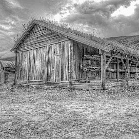 Old boathouse by Benny Høynes - Black & White Buildings & Architecture ( old, barn, black and white, boathouse, landscape, norway )
