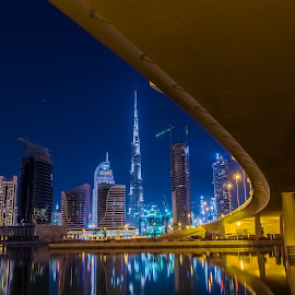 The Night Is Young by Ahmad Mustafa - City,  Street & Park  Skylines ( nikond7100, dubai, cluster, cityscape, bridge, nikon, photography, city, nightscape )