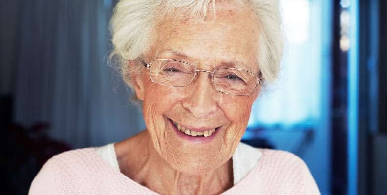 In-home care client smiling