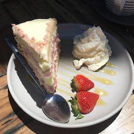 Raspberry Sponge with cream, yum! by Dawn Simpson - Food & Drink Plated Food ( sponge, treat, cafe, dessert, cream, something special, sweet )