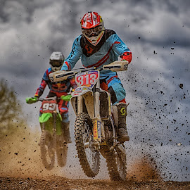 Speed'n Clumps by Marco Bertamé - Sports & Fitness Motorsports ( clouds, speed, 93, green, number, 313, jump, red, motocross, blue, dust, clumps, grey, rce, nose )