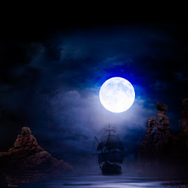 Moonlight Arrival by Eugene Linzy - Digital Art Places ( clouds, mountains, moon, ship, sea, full moon, night )