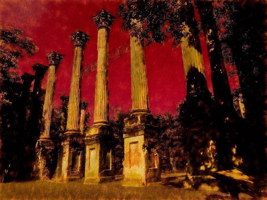 Burned Out Windsor Plantation by Dave Walters - Digital Art Abstract ( ms, lumix fz200, fire, windsor plantation, colors, natchez, digital art )
