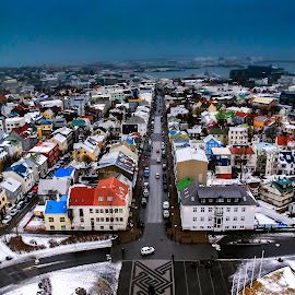 Downtown Reykjavik by Jeff McVoy - City,  Street & Park  Skylines ( building, iceland, color, reykjavik, streets, downtown )
