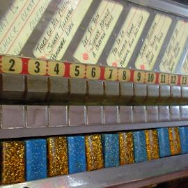 Jukebox by Kaye Petersen - Abstract Patterns ( pattern, blue, numbers, gold, jukebox, antiques,  )