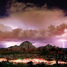 Storm approaching Sedona Arizona by Steven Love - Landscapes Weather ( illuminated, lightning, red, mountain, arizona, sandstone, weather, rock, night, storm, sedona, moonlight )