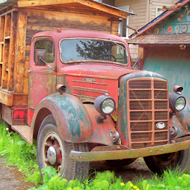 FADED GLORY. MACK TRUCK #1 by William Thielen - Novices Only Objects & Still Life ( magnificent, urban, red, seattle, blue, truck, gloriious, glory, faded, rusty, rust, mack, character )