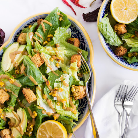 Chipotle Caesar Salad with Cornbread Croutons