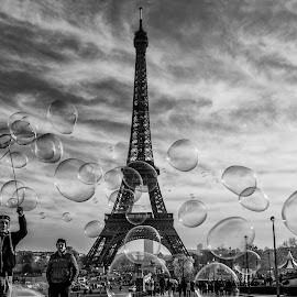 Life goes on by Atanas Donev - City,  Street & Park  Street Scenes ( eiffel tower, paris, street, bubbles, france )