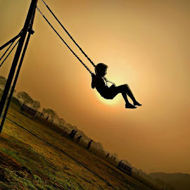 Childhood.#childhood #swings #children  #joys #simplejoys by Ranjeet Adkar - Novices Only Portraits & People ( sunset, outdoors, sports, childhood, swing )
