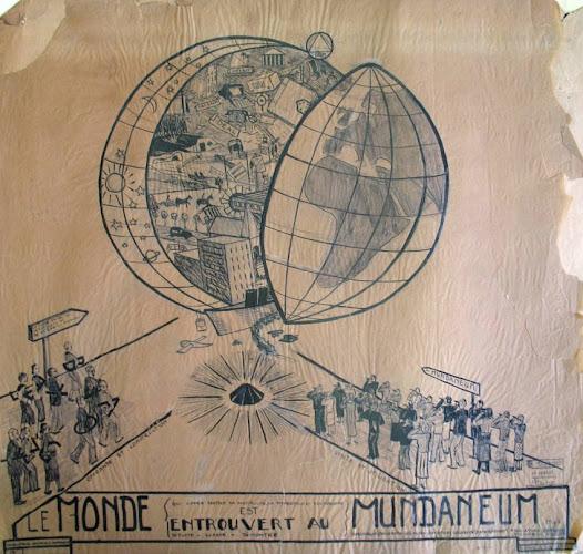 La sphère représente l'universalisme, l'idée de mise circulation du savoir. Objectif: construire la paix mondiale! Alors que l'on assiste progressivement à la création d'un réseau de télécommunications et de transports à l'échelle internationale émerge en ce début de 20ème siècle le concept de mondialisation, une culture qui habite les fondateurs du Mundaneum.