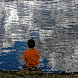 Boy Fishing by Richard Jordan - Babies & Children Children Candids