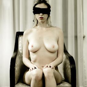 Waiting by Gunleik Groovie - Nudes & Boudoir Artistic Nude ( chair, red, blindfold, woman, lips )