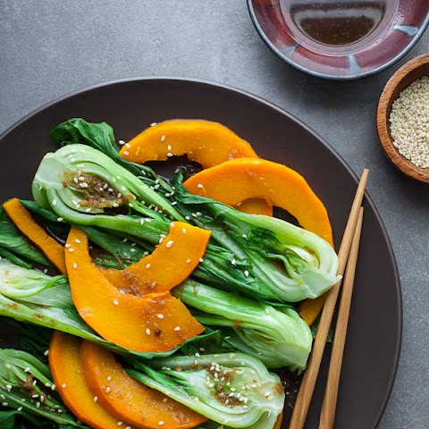 Steamed Pumpkin and Baby Bok Choy with Ginger Sesame Sauce Recipe (Vegan, Paleo)