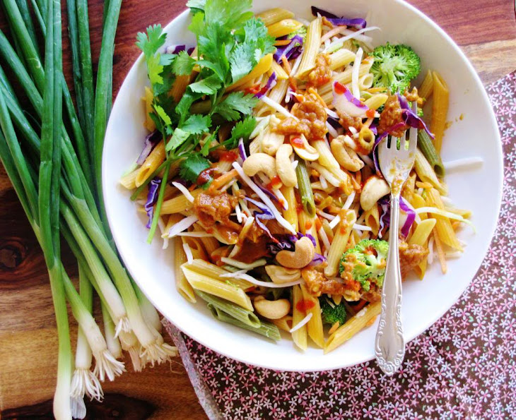 Vegetables And Noodle Salad With Spicy Peanut Butter Dressing Recipe ...