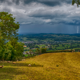 Distant Lightening by Tommy  Cochrane - Landscapes Weather ( lightening, wales, distant, weather, storm, ruthin )