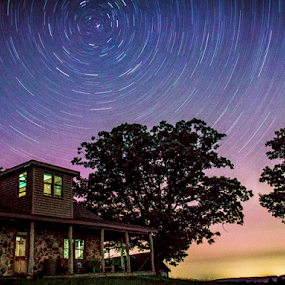 stars circle camp by Dale Youngkin - Landscapes Starscapes ( stars, astrophotography, night, star trails, starscape,  )