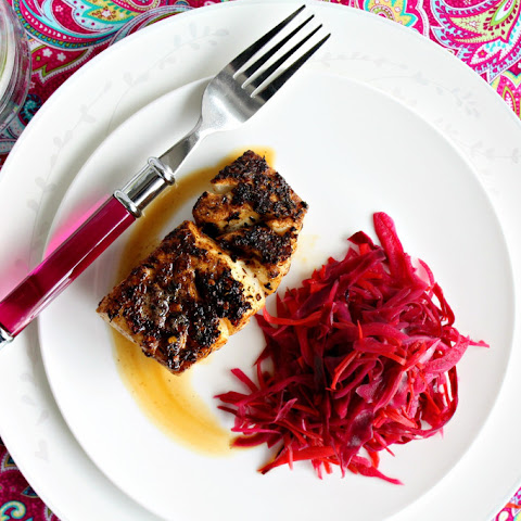 Jamaican Blackened Fish with Spiced Pickled Cabbage