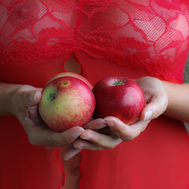 red apples by Dragana Trajkovic - Nudes & Boudoir Boudoir ( red, apple, woman, hands, mature,  )