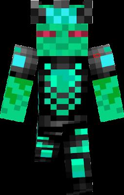 green blueish alien enderman king with exo suit
