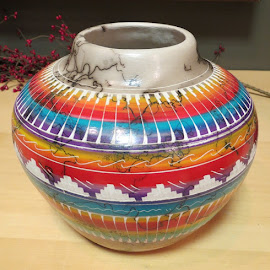 Horsehair Pottery by Rita Goebert - Artistic Objects Other Objects ( pottery; horsehair; rainbow colored pottery; bowls; navajo pottery;,  )