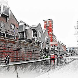 birmingham by Kathleen Devai - Digital Art Places ( water, building, path, canal, city )