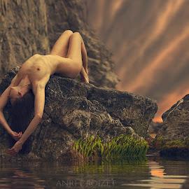 Survival... by Anri Croizet - Nudes & Boudoir Artistic Nude ( model, nude, anri, art, sea, rock, croizet, erotic, girl, woman, naked, sunset, sunrise, rocks, nudity )