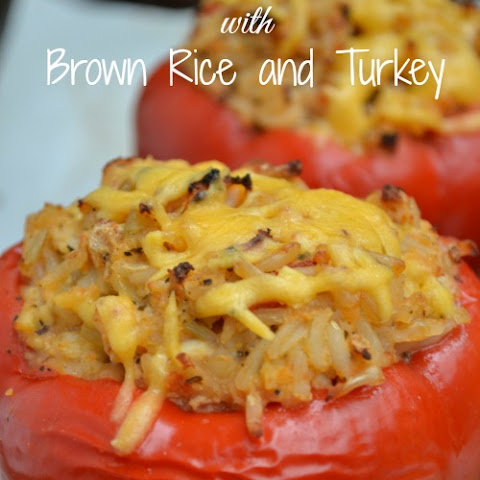 Stuffed Red Peppers with Brown Rice and Turkey