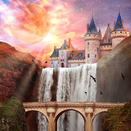 Waterfall with Rays by Charlie Alolkoy - Digital Art Things ( cliff, waterfall, castle, bridge, rays )