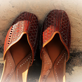 Embroidered Sandals by Prasanta Das - Artistic Objects Clothing & Accessories ( embroidered sandals, leather )
