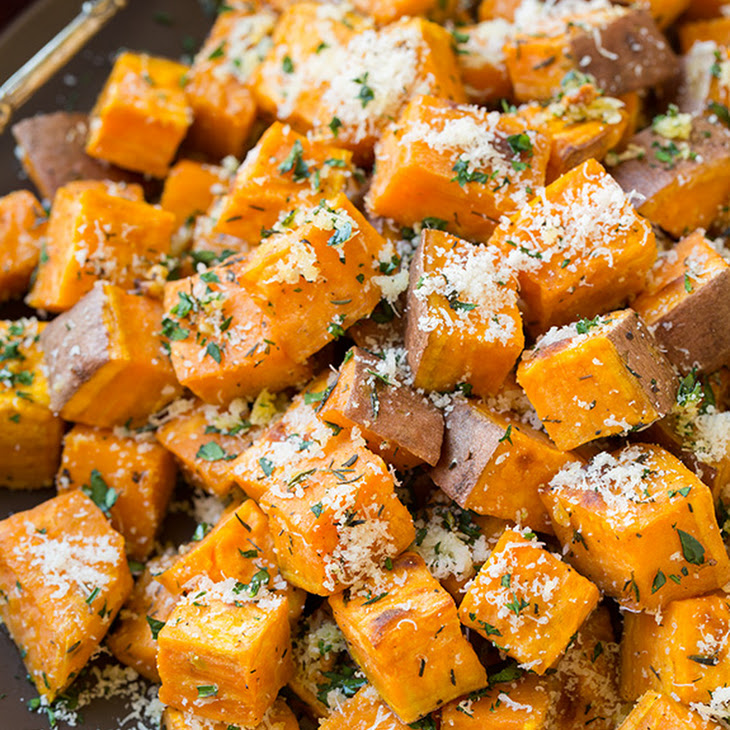Garlic-Herb Roasted Sweet Potatoes with Parmesan Recipe | Yummly