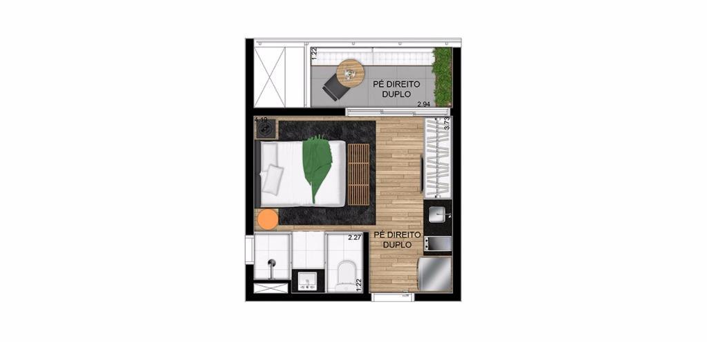 Planta Loft de 27 m²