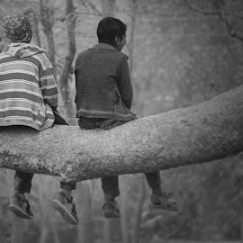 Simple Joy by Bihong Kollogov - Babies & Children Children Candids ( monochrome, tree, nature, black and white, joy, boys, friendship, children, fun, together )