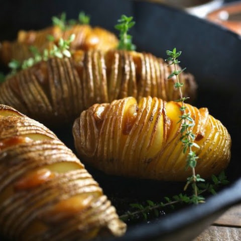 Hassleback Potatoes and Garlic Confit
