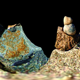 Rock Pile Art Black Background by Robin Amaral - Nature Up Close Rock & Stone ( geology, black background, sand, texture, nature up close, stone, rock, technique photo )