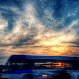 bus at sunset by Todd Reynolds - City,  Street & Park  Street Scenes