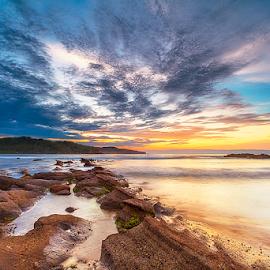 Morning Glory by Rio Tanusudiro - Landscapes Sunsets & Sunrises ( coral, rock, sunrise, beach, morning, light )
