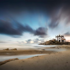 Calling My Name by Bruno Macedo - Buildings & Architecture Places of Worship ( clouds, beach sea, church, blue, oporto, beach, chapel, portugal, porto )