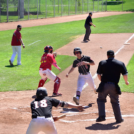 Action At Home Plate by Garry Dosa - Sports & Fitness Baseball ( running, ball, game, sports, men, action, baseball )