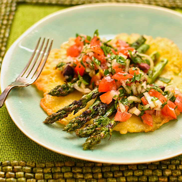 Socca Pancakes With Char-grilled Asparagus, Tomato And Herbs Recipe ...