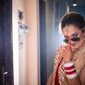 Behind the glass by Kshitij Bhaswar - Wedding Bride ( wedding photography, wedding, hindu wedding, indian wedding, indian bride )
