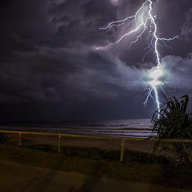 Lightning in Miami, Queensland.  by Juzzy Berger - Landscapes Weather ( water, thunder, sand, queensland, thunderstorm, waves, sea, ocean, beach, storm, strike, lightning, gold coast )