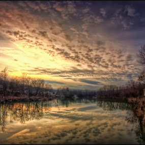 Golden Hews Of Winter Light, over the Katerrskill River, Catskill, NY by Bruce Martin - Landscapes Waterscapes ( sunsets, rivers, country )