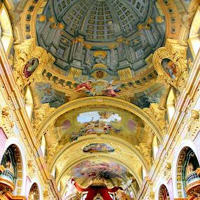 The trompe l'oeil dome of the Jesuit Church in Vienna, Austria by Paolo Gianti - Buildings & Architecture Places of Worship ( architecture; austria; austrian; baroque; cathedral; chapel; christian; christianity; church; europe; facade; faith; fresco; god; interior; jesuit; jesuitenkirche; jesuits; leopold; minster; angel; portal; sky; tower; universit; universitatskirche; vertical; vienna; european; wien; double; andrea; pozzo; trompe; oeil; dome; eye; pilgrim; tourism; tourists; assumption; mary; golden; marble; pillars; ceiling; masterpiece; university; illusion; optical; )