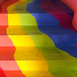 Way To The Colorful Life by Steven De Siow - Abstract Patterns ( stairs, stairway, staircase, colorful, interior,  )