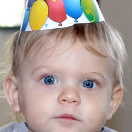 Xander's One by Larry Smith - Babies & Children Child Portraits ( birthday, blue eyes, party, year old, birthday  hat )