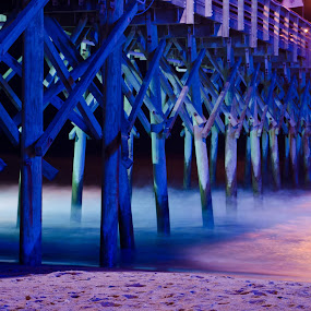 Long Exposure Ocean Pier shot by Serge Skiba - Landscapes Travel ( sky wheel, ocean, myrtle beach )