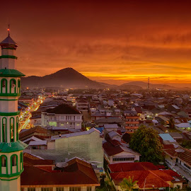 Sunset In CITY by Muhammad Ghifan  Arselan - City,  Street & Park  Vistas ( mosque, sunset, cityscape, landscape, city )