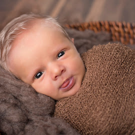 Silly Tongue by Nicole Ferris - Babies & Children Babies ( baby boy, basket, tongue, blonde, awake, newborn, brown, eyes )